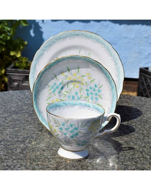 TUSCAN DUCK BLUE FLORAL TEA TRIO