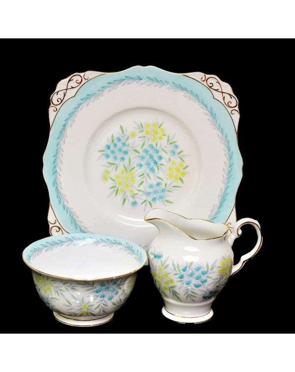TUSCAN BLUE FLORAL CAKE PLATE SET