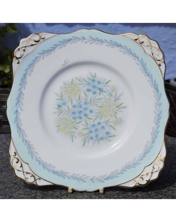 TUSCAN BLUE FLORAL CAKE PLATE