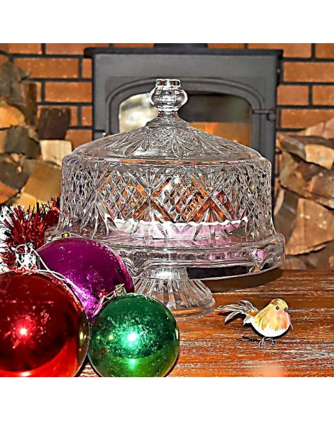 (OUT OF STOCK) DUBLIN CRYSTAL CAKE STAND AND DOME