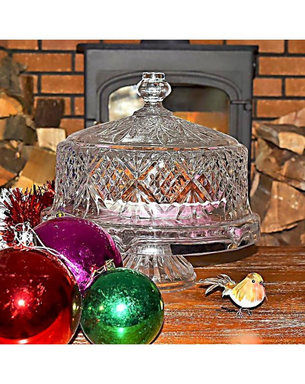 DUBLIN CRYSTAL CAKE STAND AND DOME