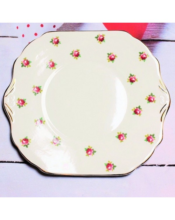 (OUT OF STOCK) STANLEY ROSE BUD CAKE PLATE