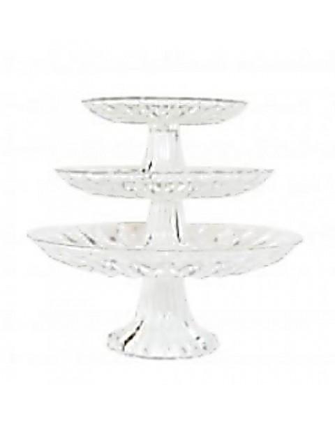 SET OF THREE GLASS CAKE STANDS