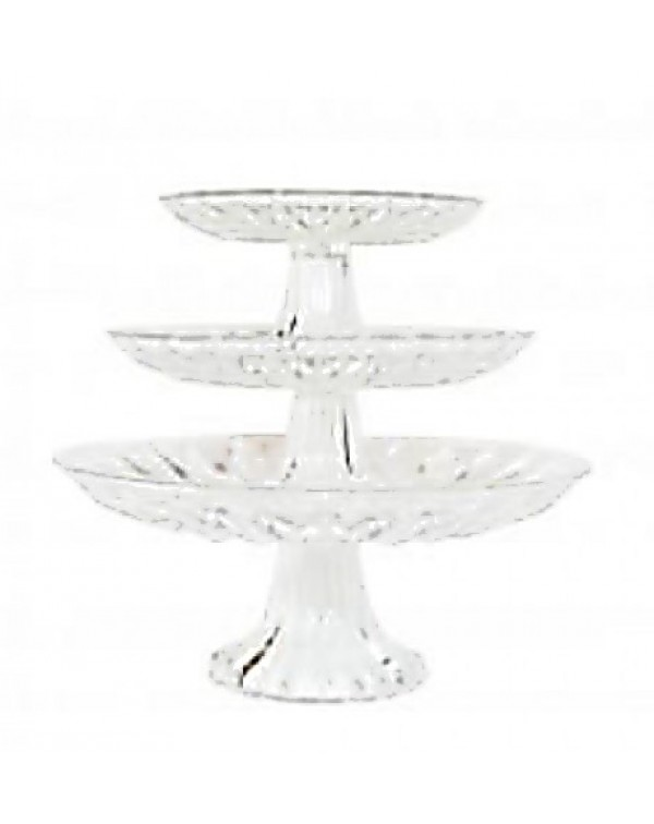 SET OF THREE GLASS CAKE STANDS