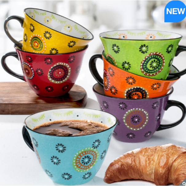 (OUT OF STOCK) NEW BOXED COLOURFUL SET OF SIX MUGS