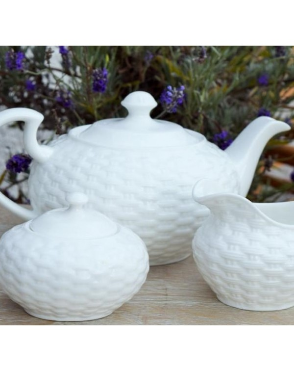 (OUT OF STOCK) AYNSLEY BASKET WEAVE TEAPOT SET NEW