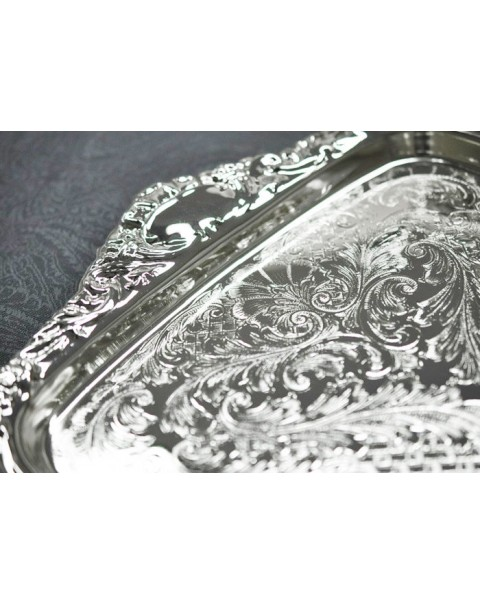 SILVER PLATED TRAY AND 6 MULLED WINE GLASSES