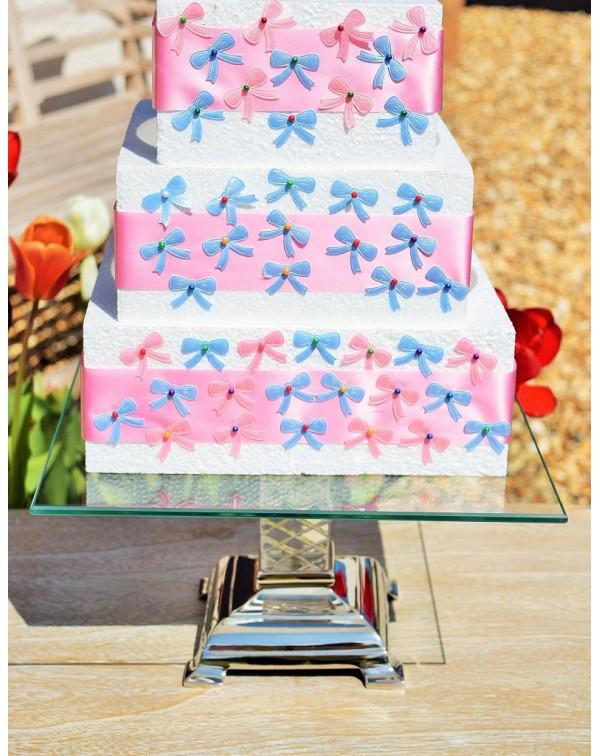 SQUARE GLASS & METAL CAKE STAND
