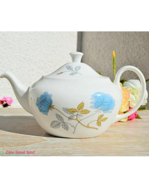 WEDGWOOD ICE ROSE TEA SET WITH TEAPOT