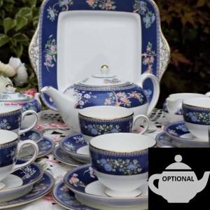 WEDGWOOD BLUE SIAM TEA SET WITH TEAPOT OPTION