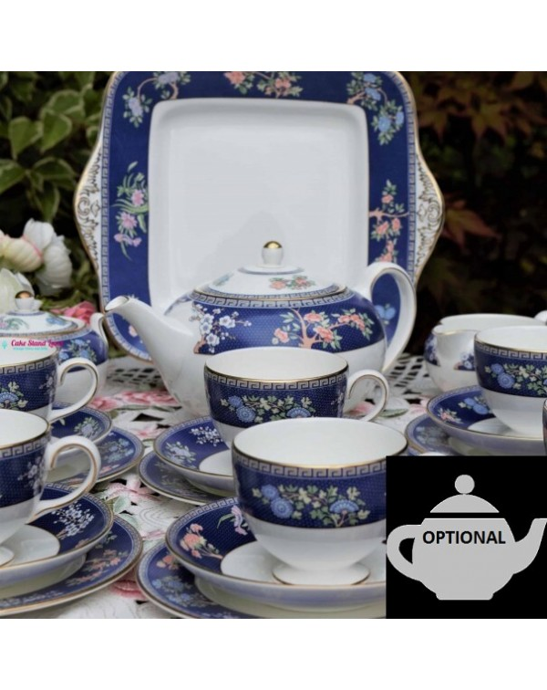 (SOLD) WEDGWOOD BLUE SIAM TEA SET WITH TEAPOT OPTI...