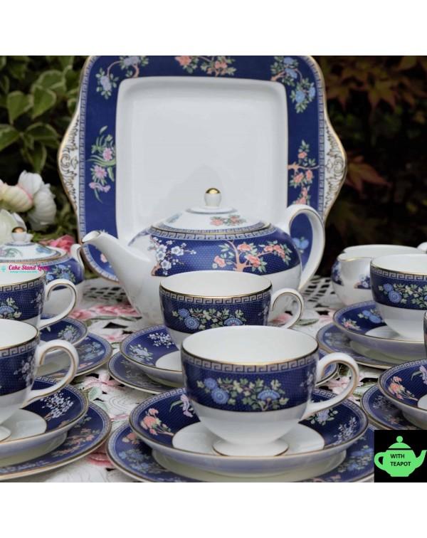 WEDGWOOD BLUE SIAM TEA SET WITH TEAPOT