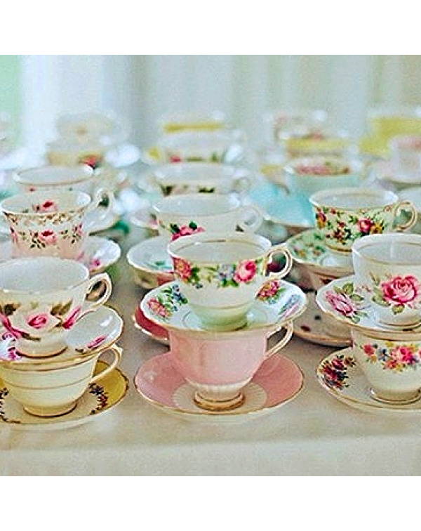 TEN MISMATCHED TEA CUPS & SAUCERS