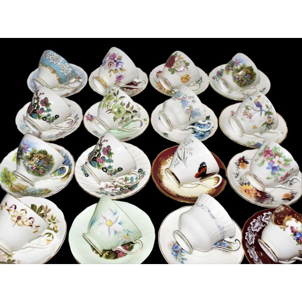 16 MISMTACHED CUPS & SAUCERS AS PICTURED