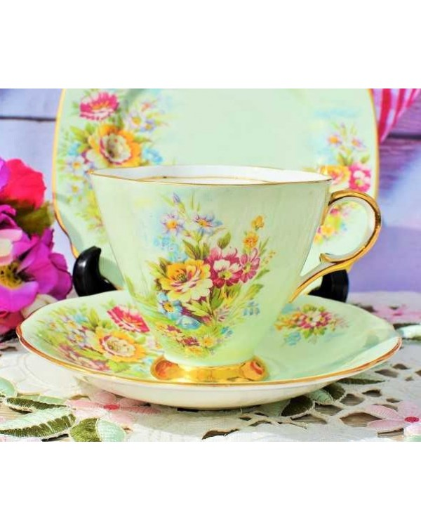 (OUT OF STOCK) WINDSOR CHINA FLORAL TEA TRIO