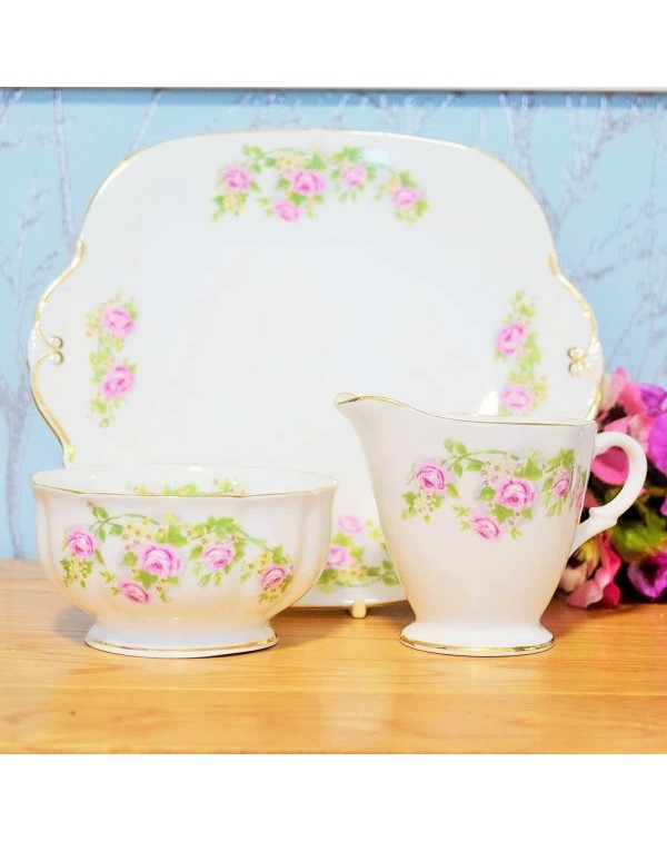 (SOLD) WINDSOR PINK ROSE CAKE PLATE SET