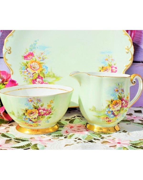 (OUT OF STOCK) WINDSOR FLORAL CAKE PLATE SET
