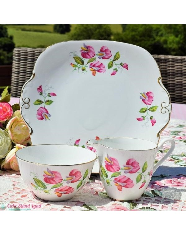 WINDSOR SWEET PEA CAKE PLATE SET