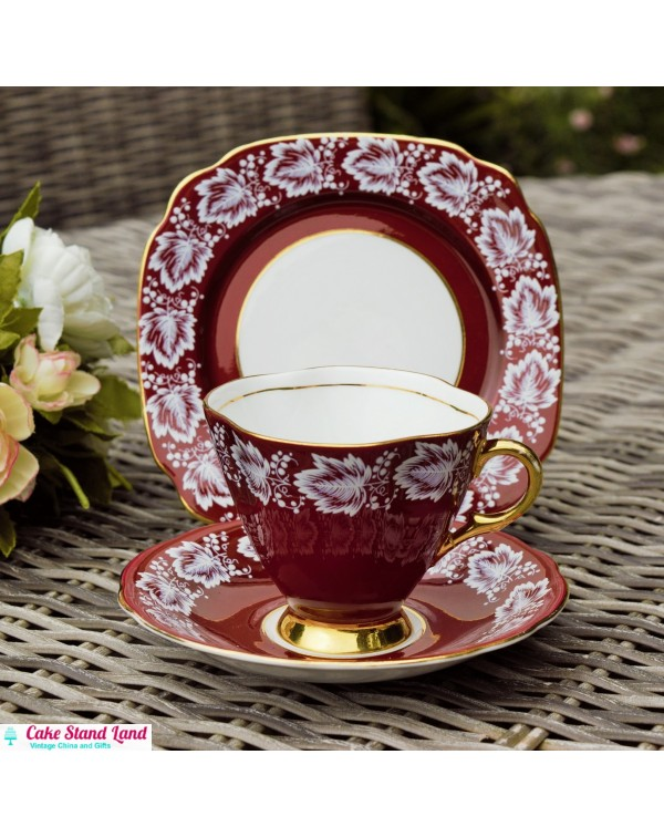 (SOLD) CRIMSON WINDSOR TEA TRIO