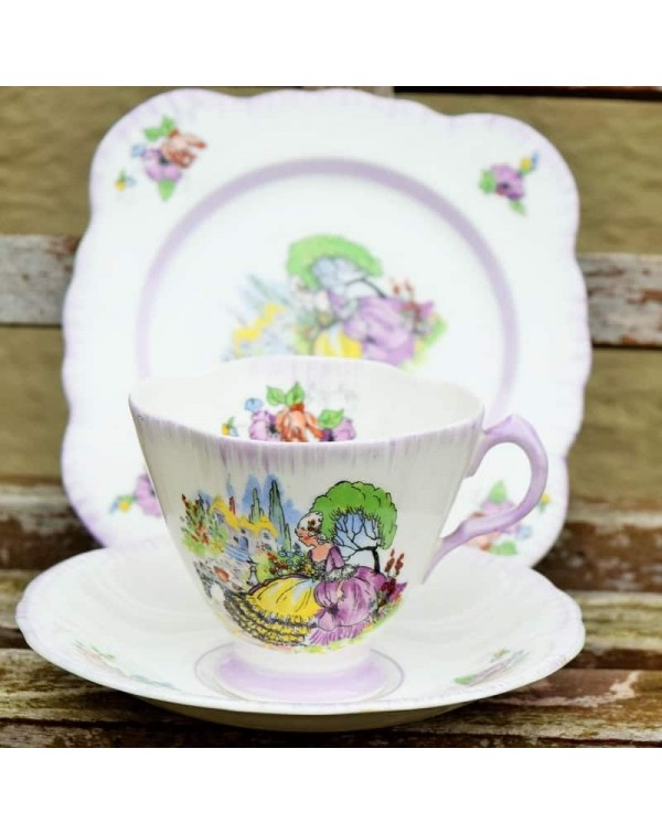 (SOLD) WINDSOR LAVENDER LADY TEA TRIO