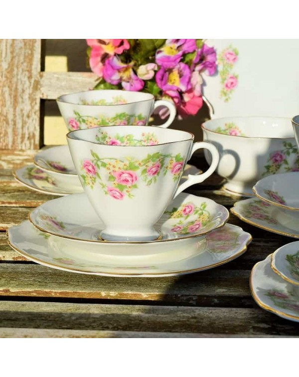 WINDSOR PINK ROSE TEA TRIO