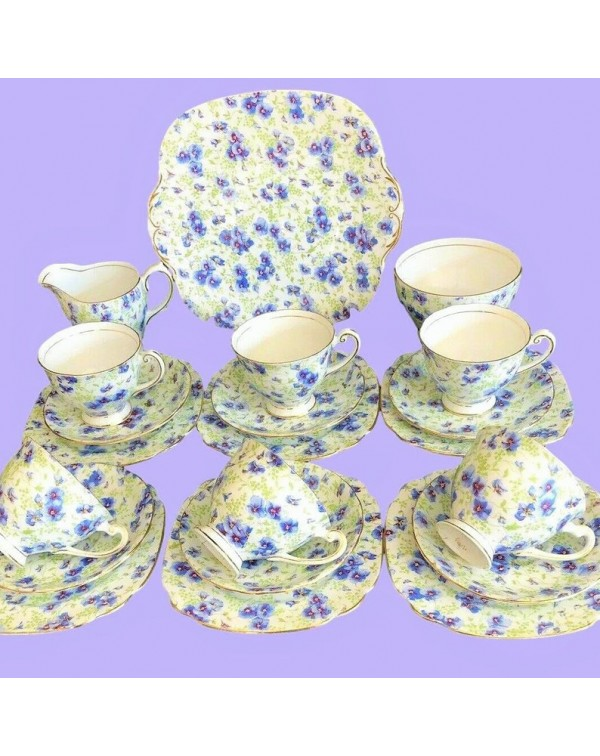(OUT OF STOCK) WINDSOR BLUE POPPY CHINTZ TEA SET