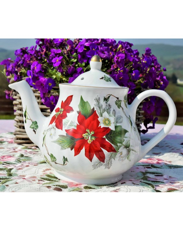 (OUT OF STOCK) ARTHUR WOODS POINSETTIA TEAPOT