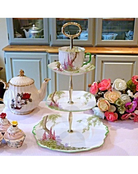(OUT OF STOCK) TEA CUP  CAKE STAND ROYAL ALBERT FOXGLOVE
