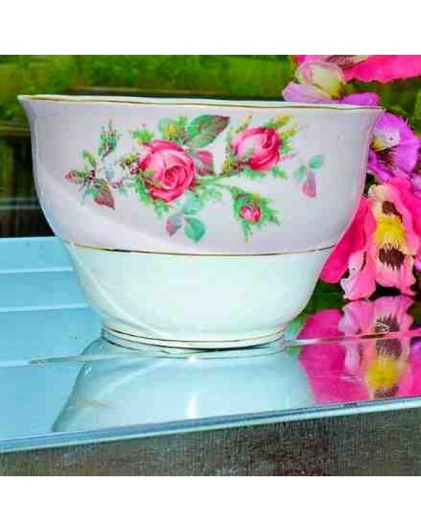 COLCLOUGH PINK ROSE SUGAR BOWL