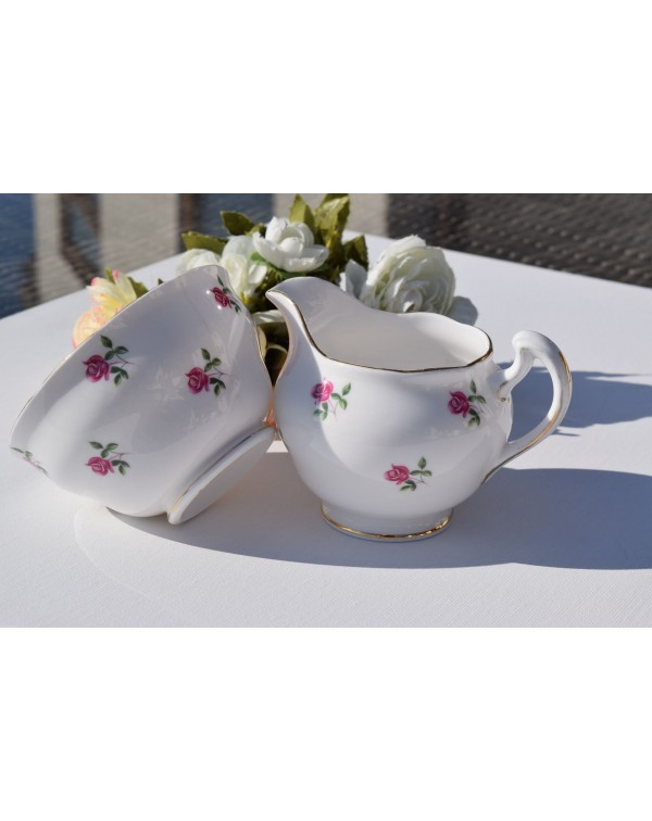 COLCLOUGH ROSE BUD MILK JUG & SUGAR BOWL