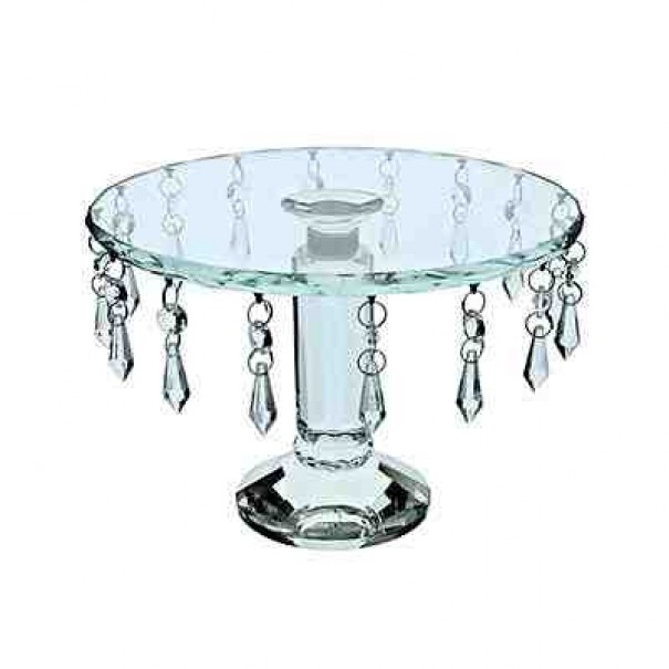CRYSTAL GLASS CAKE STAND WITH DROPLETS