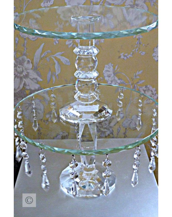 (OUT OF STOCK) CRYSTAL GLASS CAKE STANDS SET OF TW...