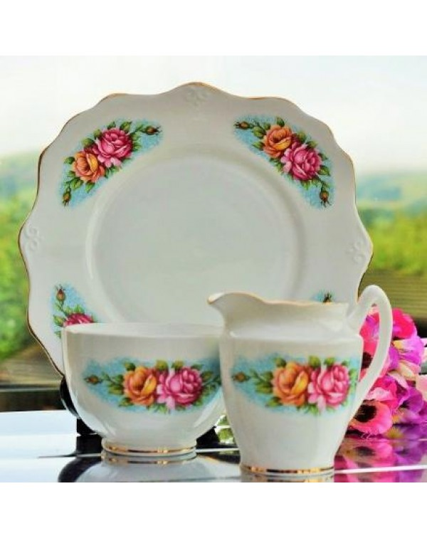 (OUT OF STOCK) FLORAL CAKE PLATE SET