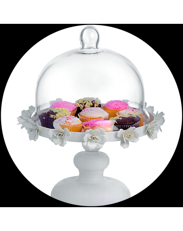(OUT OF STOCK) GLASS DOMED CREAM FLORAL PEDESTAL C...
