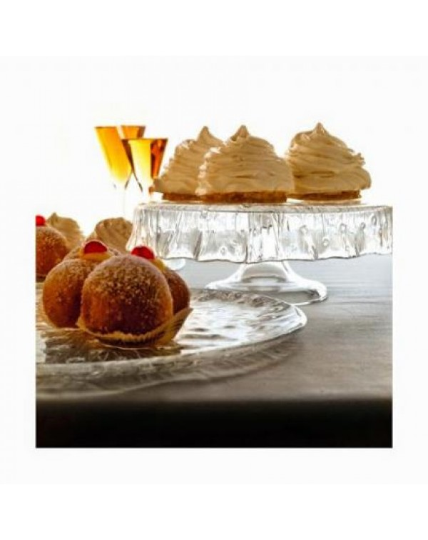(OUT OF STOCK0 GLASS FRILLY CAKE STAND