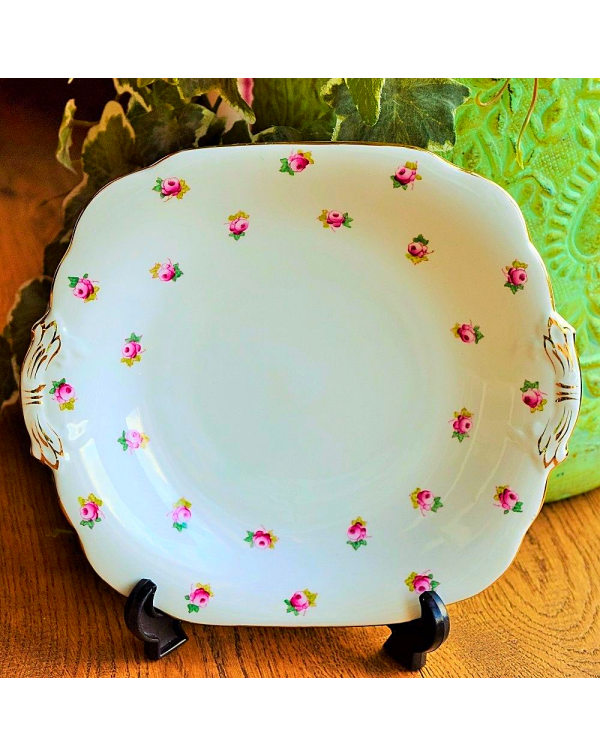 (OUT OF STOCK) GROSVENOR ROSE BUD CAKE PLATE
