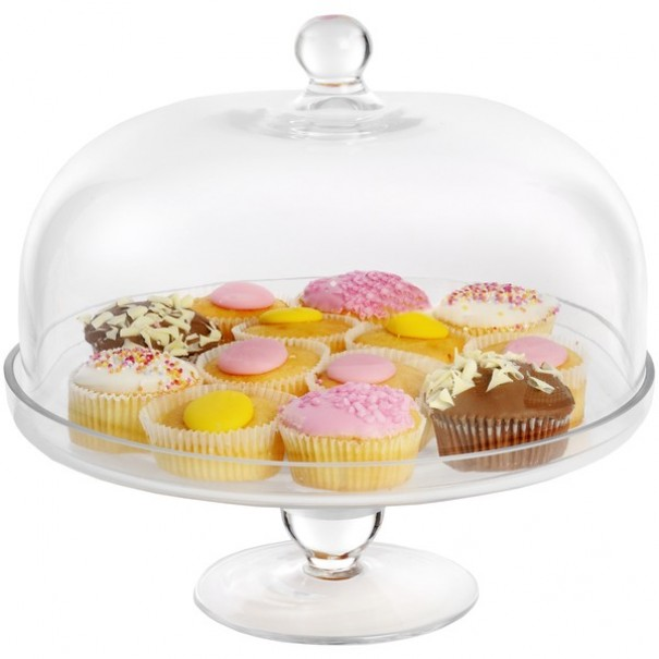 (OUT OF STOCK) ITALIAN  GLASS CAKE STAND & DOME