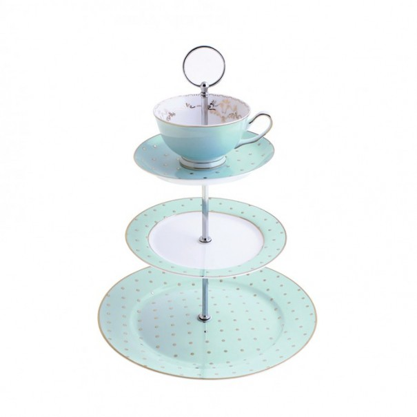 (OUT OF STOCK) JADE GOLD POLKA DOT TEA CUP TOPPED CAKE STAND NEW GIFT BOXED