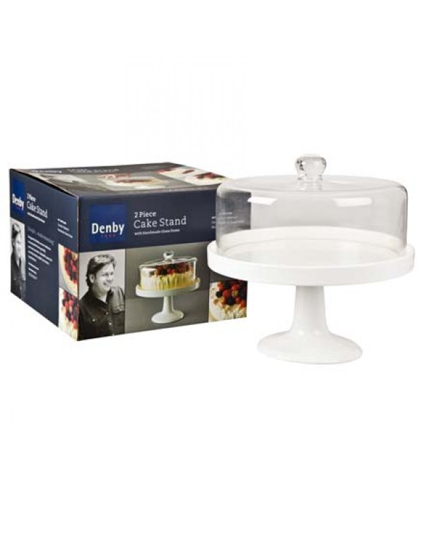 JAMES MARTIN DENBY CAKE STAND AND GLASS DOME