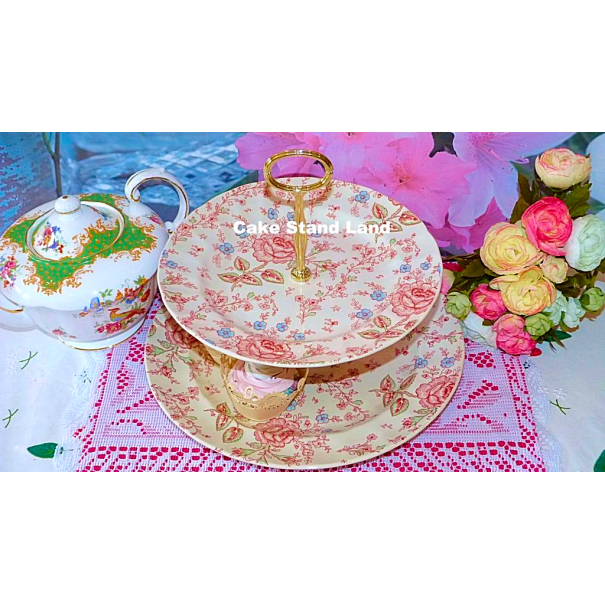 (OUT OF STOCK) JOHNSON BROTHERS CHINTZ NEW 2 TIER CAKE STAND