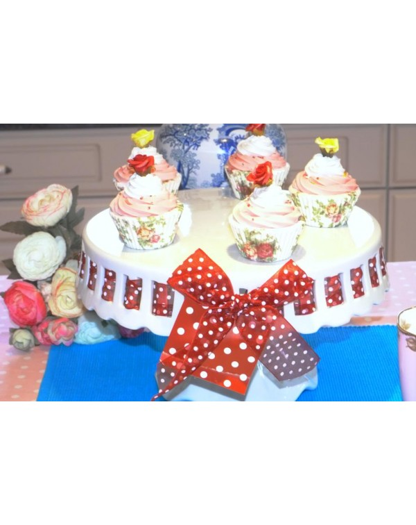(OUT OF STOCK) LARGE PEDESTAL CAKE STAND WITH RED ...