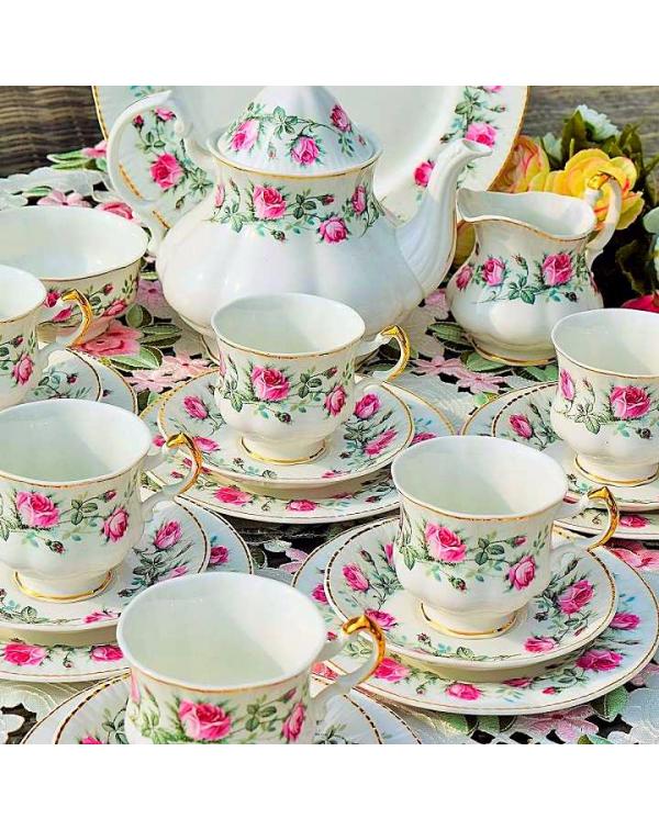 (OUT OF STOCK) MAYFAIR PINK ROSE TEA SET