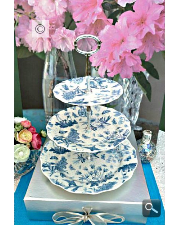 (OUT OF STOCK) PORTMEIRION BOTANIC BLUE CAKE STAND