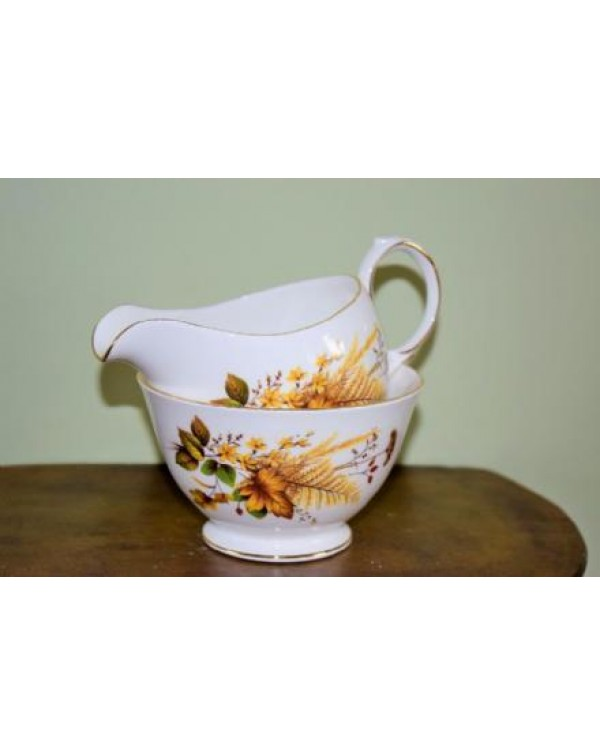 QUEEN ANNE AUTUMN MILK JUG & SUGAR BOWL