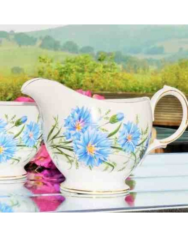QUEEN ANNE CORNFLOWER MILK JUG & SUGAR BOWL