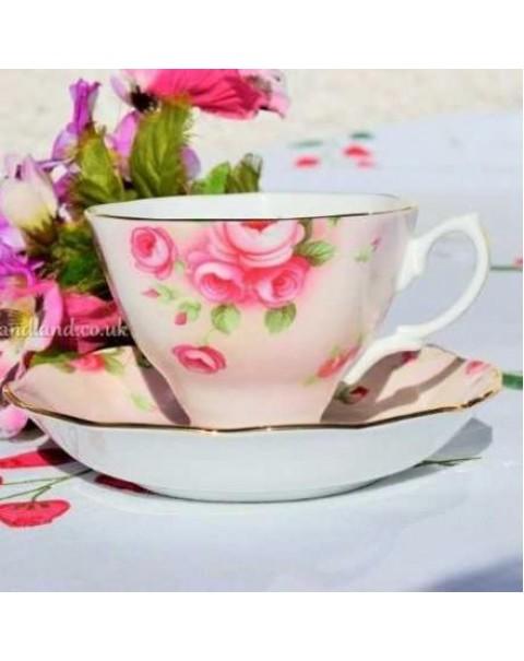 (OUT OF STOCK) ROYAL ALBERT BLUSH ROSE TEA CUP & SAUCER