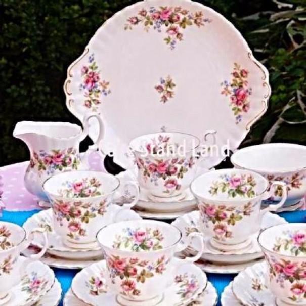 (OUT OF STOCK) ROYAL ALBERT MOSS ROSE TEA SET