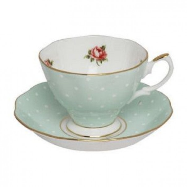(OUT OF STOCK) ROYAL ALBERT POLKA ROSE TEA CUP AND SAUCER