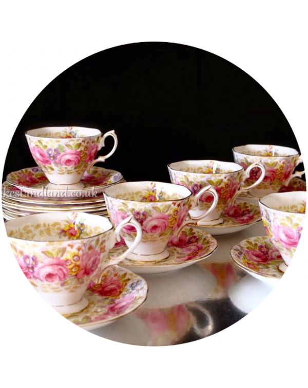 (OUT OF STOCK) ROYAL ALBERT SERENA SET OF SIX TEA ...