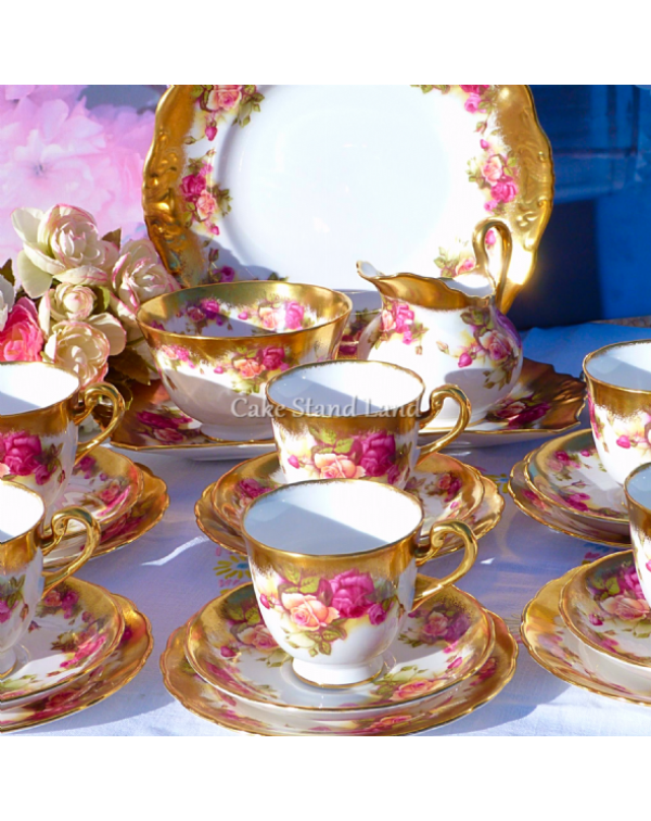 (OUT OF STOCK) ROYAL CHELSEA GOLDEN ROSE TEA SET